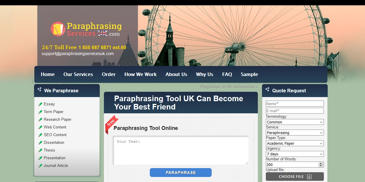 review of paraphrasingservicesuk.com